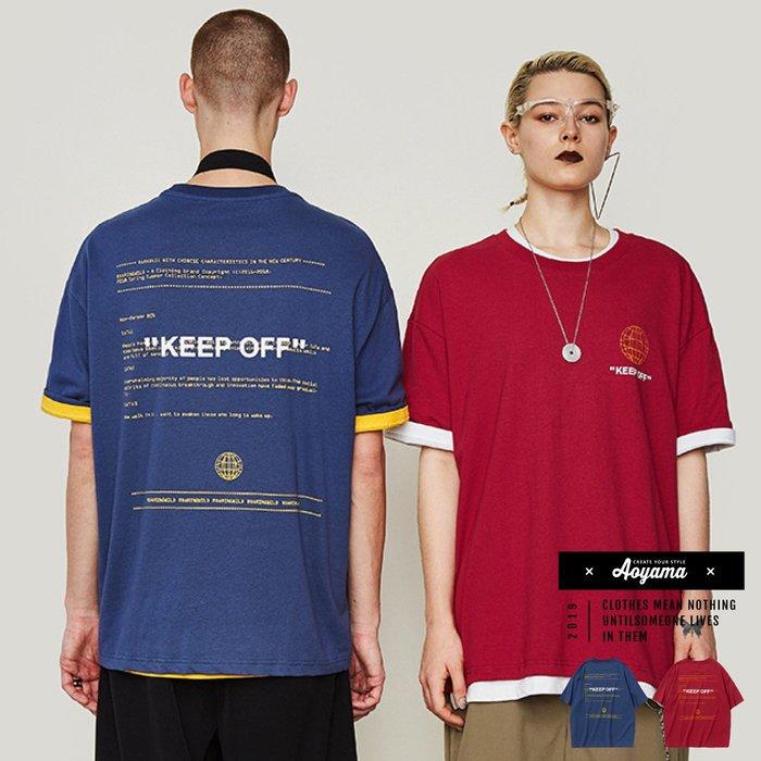 KEEEP OFF歐美嘻哈寬鬆落肩短T【B6804】美式風格 oversize 情侶T 五分袖 19SS