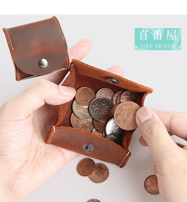 【喜番屋】真皮瘋馬牛皮復古可裝30枚硬幣隨身皮夾皮包錢夾零錢包小錢包硬幣包男夾女夾【LH454】
