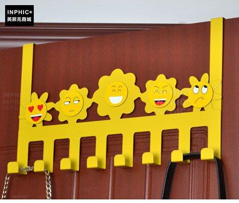 INPHIC-彩色鐵藝可愛門後掛鉤 排鉤壁掛衣架 強力免釘衣掛掛衣鉤_S00262C