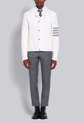 THOM BROWNE 4-Bar Stripe Cardigan Stitch Zip-Up Jacket