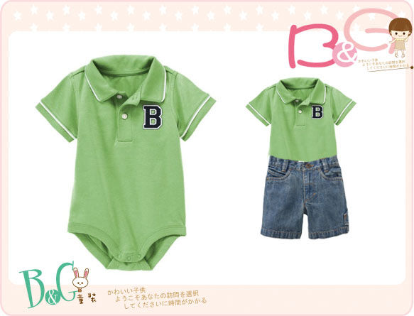 【B& G童裝】正品美國進口GYMBOREE綠色短袖polo連身衣18-24mos