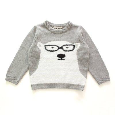 日本童裝品牌 Ami Amie 男童北極熊針織毛衣- 灰色 size 100cm & 115cm