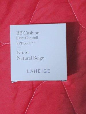【蘭芝 LANEIGE】BB舒芙蕾水凝霜 毛孔隱形升級版 SPF50+ PA+++ #21 Natural Beige -補充蕊+粉撲