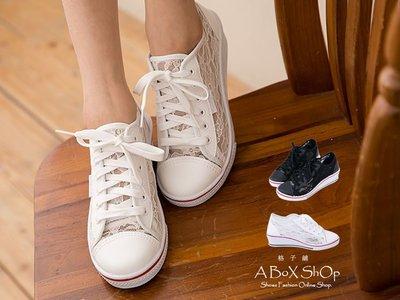 格子舖*【AJ18035】零碼出清 MIT台灣製 透視美學 雕花網紗 厚底楔型增高 休閒球鞋 帆布鞋 2色
