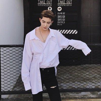長袖 襯衫 純色上衣-前片不對稱時尚韓版男襯衫2色73po6[獨家進口][巴黎精品]