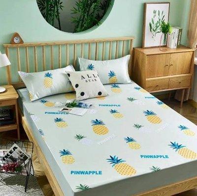 台灣立刻出 現貨 冰絲床包三件套組 涼感雙人床罩 夏天專用 床包 床單 枕頭套 冰絲 床罩組 床包組 雙人床 雙人加大
