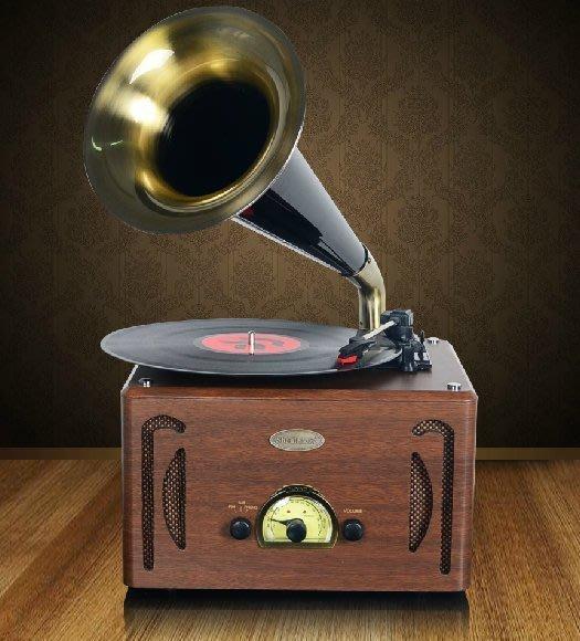 【易發生活館】新品小號角留聲機唱片機小喇叭黑膠唱機老式電唱機