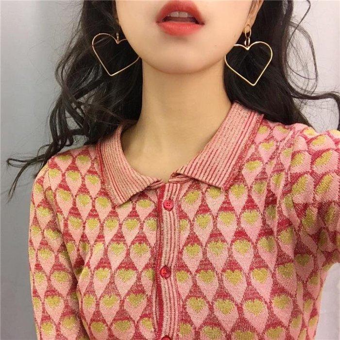 耳環   歐美夸張鏤空愛心形韓國個性簡約桃心形耳釘耳飾R876