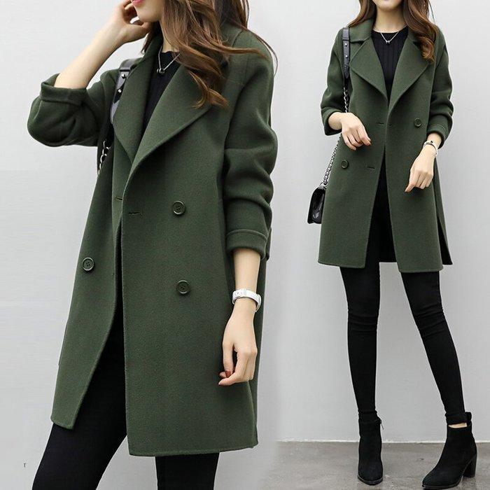 ✿ 吉米花 ✿ B-054397 時尚雙排扣呢子大衣 ( 綠 M ) 中碼 現貨