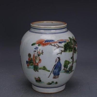 【三顧茅廬 】大明嘉靖手繪五彩人物紋罐子萬福攸同款 古瓷古玩古董收藏品