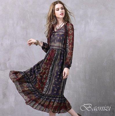 《現貨+預購免運》 中大碼 民族風荷葉邊雪紡連身裙 洋裝 A8218 Baonizi 寶妮子 (M號有現貨)