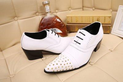 個性時裝男皮鞋 新款英倫尖頭男鞋真皮商務休閑增高鞋韓版正裝皮鞋美發師潮男鞋