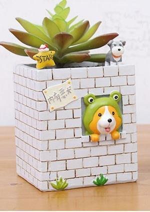柯基多肉花器CORGI 圍牆造型 仙人掌 植物盆栽 禮物