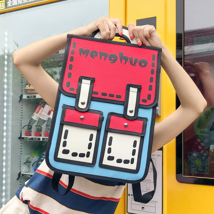 FuNFang_日系搞怪3D漫畫造型後背包*3色