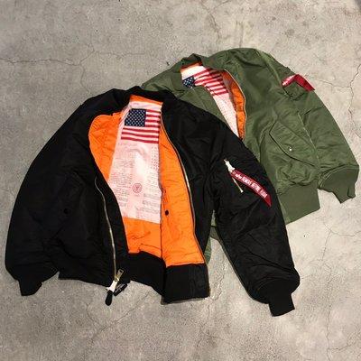 車庫服飾 -- 現貨 ALPHA MA-1 BLOOD CHIT FLIGHT JACKET 經典寬版反穿國旗飛行員外套