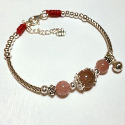 925純銀天然水晶珠手環~草莓晶~客製化商品~心願925蠶絲蠟線手作坊