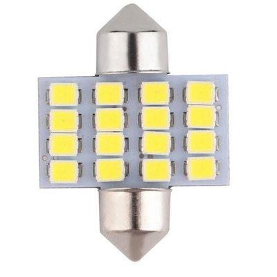 【CARLAND汽车百貨】��滿299包郵��汽車燈 31MM 16SMD 3528 1210 汽車 LED雙尖燈車頂燈 Festoon