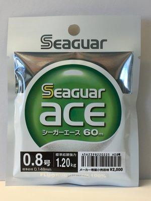 [魚彩釣具]碳纖線 --日本製 Seaguar ace #0.8號 60m-- 子線 碳素線 卡夢線 台中市