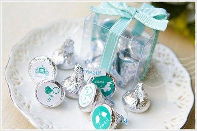 幸福朵朵【(情人特別版)KISSES水滴巧克力(8顆入)小禮盒(Tiffany色緞帶)】-宴客婚禮小物/情人節活動禮物