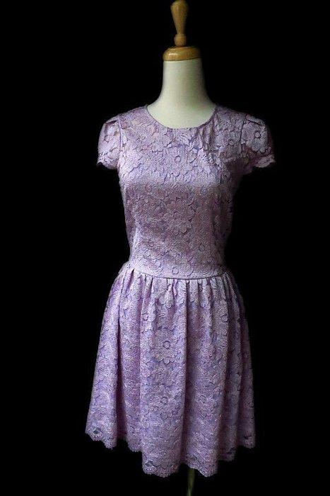 *Beauty*Blugirl粉紫色蕾絲短袖洋裝I38號 10800   元WE18
