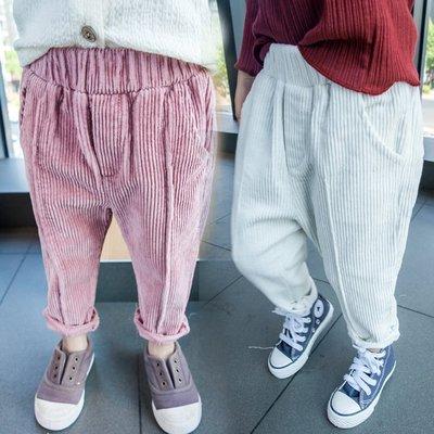 ♥【GK0121】韓版女童裝純色燈芯絨長褲 2色 (粉色 米色 現貨) ♥