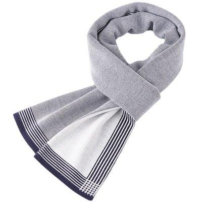 圍巾 針織披肩-羊毛條紋邊框拼色男配件3色73wi23[獨家進口][米蘭精品]