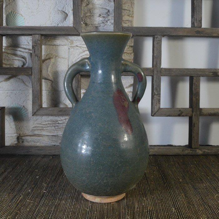 百寶軒 仿古瓷器接老底復古做舊宋鈞窯風格天藍釉雙耳玉壺春瓶古玩 ZK1779