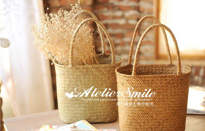 [ Atelier Smile ] 鄉村雜貨 北歐風  手工海草編織籃 收納籃 雜物籃 花籃 野餐籃 # 大 (現+預)