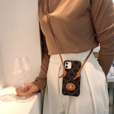 iphone12蘋果12promax手機殼斜挎iphone11可背帶掛繩xr背包式皮質celine高級感復古皮革8plu