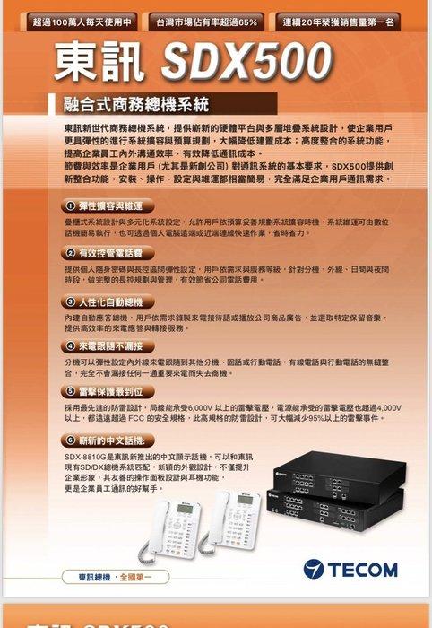 電話總機專業網....東訊SDX-500...6外線28分機4類比單機容量..來電顯示語音總機....新品專業安裝服務