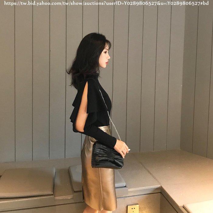 Biglove 秋季新款韓版氣質露肩荷葉邊長袖T恤高腰包臀半身皮裙時尚套裝女