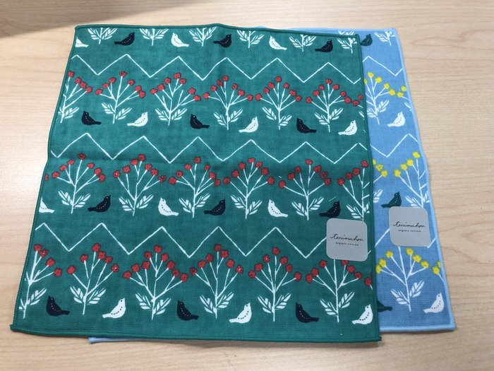 日本製 棉紗材質 小鳥花系列 小方巾/手帕