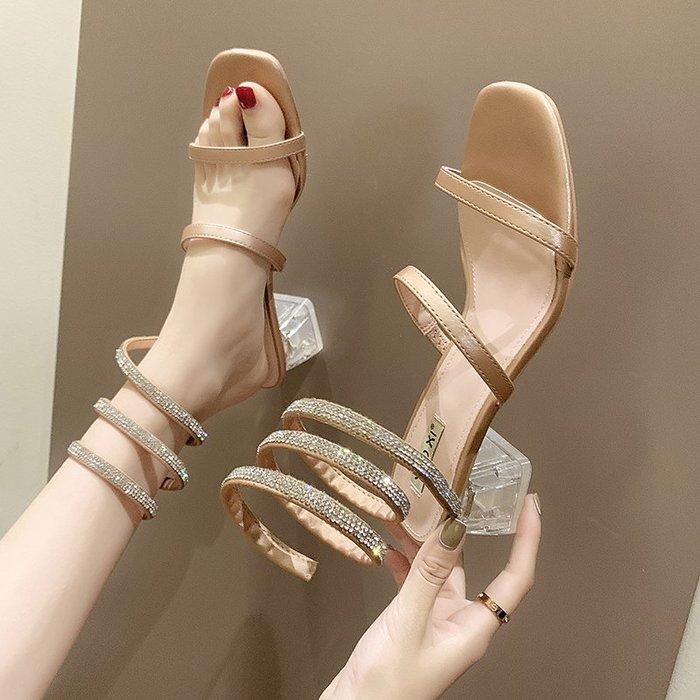 涼鞋 網紅蛇形纏繞涼鞋女2019夏季新款百搭水晶粗跟仙女風ins潮羅馬鞋