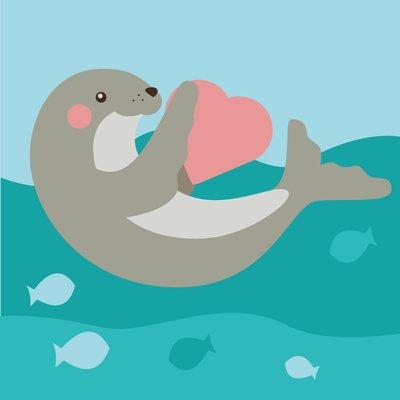 ArtLife藝術生活 DIY 彩繪 數字油畫 裝飾畫【DR064】快樂小海獅 20*20cm