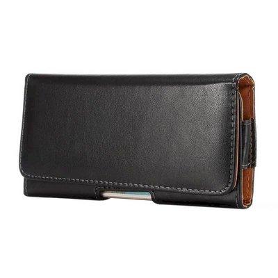 IPhone X XS Max Note9 6.3吋通用 牛皮仿製真皮 橫式腰包腰掛皮套腰夾手機套M0946