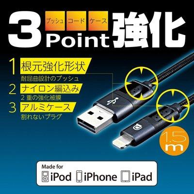 SEIWA IPhone專用傳輸充電線(1.5m)黑 - AL340
