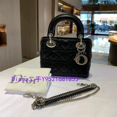 流當奢品 Dior迪奧 LADY 黑色Cannage 藤格紋圖案羊皮 手提包 鏈條包 M0505PCAL_M900