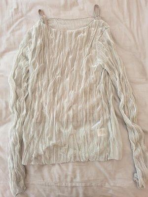 韓國品牌sunder market 灰藍色愛莎皺褶珠光兩件式上衣