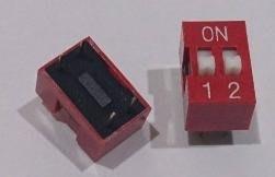 ►561◄指撥開關 撥碼開關 2位元 4腳 DIP平型 直插 2.54MM間距 紅色 編碼開關