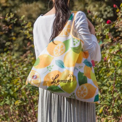 ☘小宅私物☘ 日本 Prairie Dog 設計包 (夏日檸檬) 環保購物袋 摺疊購物袋 環保袋 購物袋 現貨附發票