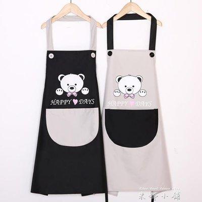 韓版時尚防水防油圍裙可愛廚房情侶成人男女罩衣訂製logo印字
