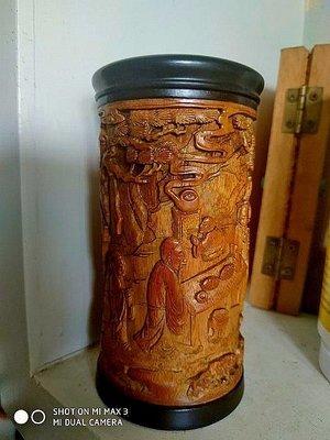 【竹雕館】~~~民國後的竹雕茶葉罐,連貼明清民國3件竹雕供同好比對,最明顯的差別是開臉