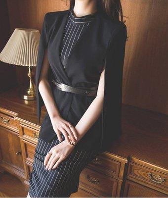 【熱銷】條紋無袖收腰中長款披肩連身裙兩件套