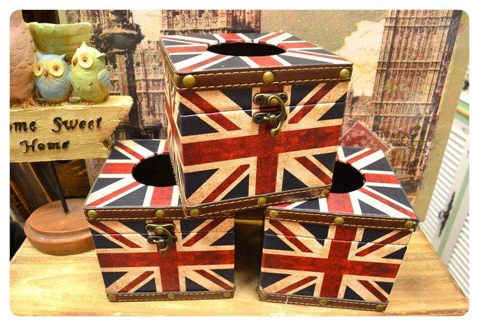 英國國旗方型面紙盒 工業風LOFT英倫風情 復古帆布米字旗紙巾盒野餐露營餐桌民宿簡餐店咖啡廳客廳床頭櫃【【歐舍傢飾】】