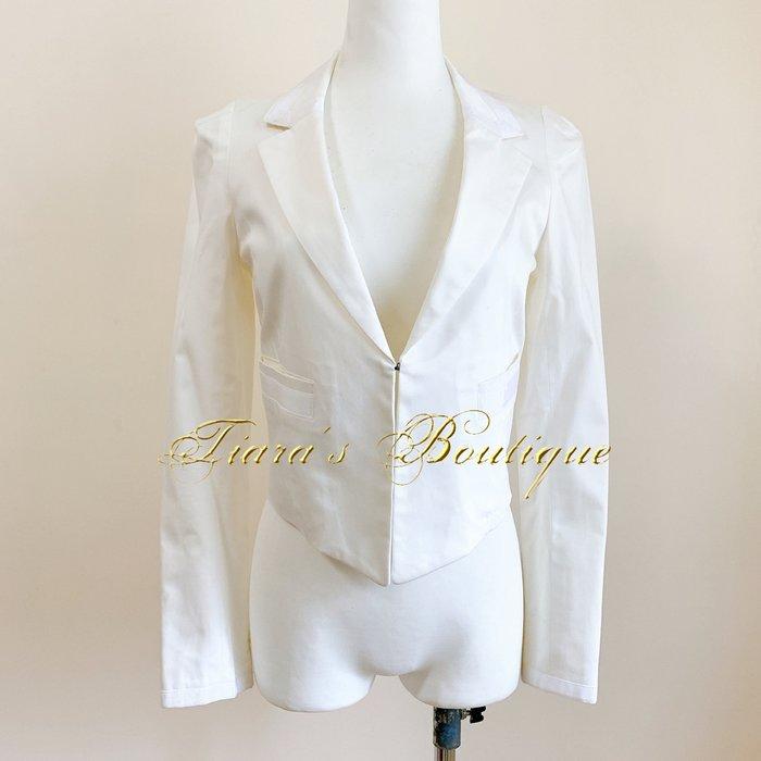 rebecca taylor 白色俐落西裝外套 都會構造摩登感 經典banded領 短外套 罩衫 (295)
