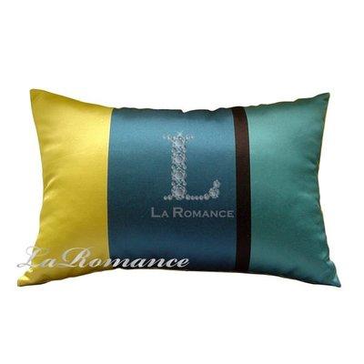【La Romance 芮洛蔓】雙面花色腰枕 - 藍配綠 / 靠枕 / 靠墊