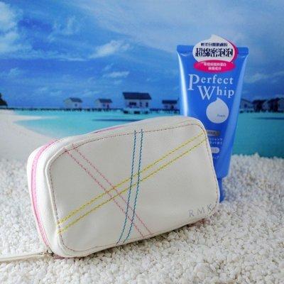 ☆Eric Zakka☆ RMK米白粉彩皮質化妝包 收納包 手機包 手拿包【現貨】JL0631