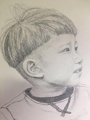 來圖或 照片可 代畫 兒童肖像 (素描 )