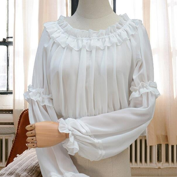 洋裝 雪紡上衣 長袖打底衫 抹胸內搭一字領雪紡襯衫—莎芭
