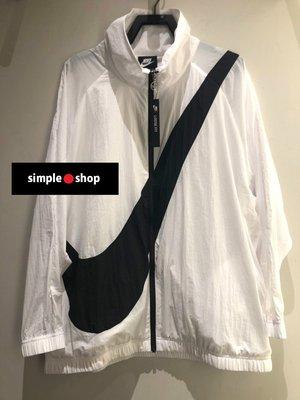 【Simple Shop】NIKE SWOOSH LOGO 大勾 風衣 運動外套 慢跑外套 白 女 BV3686-100
